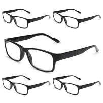 Gaoye 5-Pack Reading Glasses Blue Light Blocking,Spring Hinge Readers for Women Men Anti Glare Filter Lightweight Eyeglasses (5-Pack Light Black, 1.75)