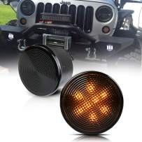 TURBO SII Amber Front Replacement LED Turn Signal Lights Assembly Smoke Lens with Parking Funtion For 2007-2018 Wrangler JK & JK Unlimited