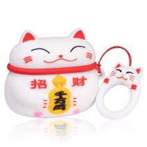 Coralogo Case for Airpods Pro/for Airpods 3 Cute,3D Animal Fashion Character Silicone Cartoon Airpod Skin Funny Fun Cool Keychain Design Kids Teens Girls Boys Cover Cases Air pods 3 (White Lucky Cat)
