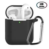 HARABI Compatible for AirPods Case Shockproof Protective Silicone Case Cover[Front LED Visible] with Anti-Lost Keychain for AirPods Charging Case. (Style2, Black)