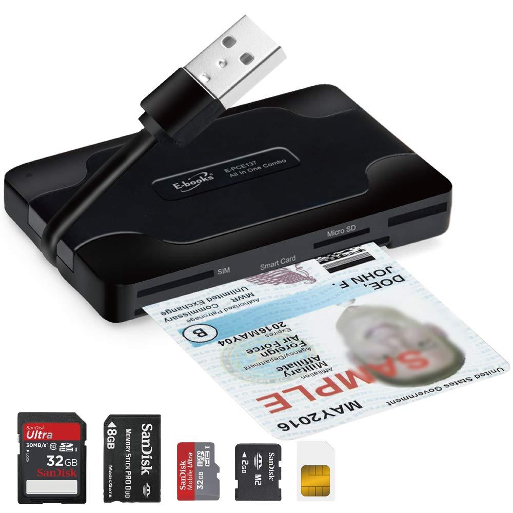 T29 USB Smart Card Memory Card Readers 3-Port USB 2.0 Hub, SD / SDXC / SDHC / MMC, MS, M2, Micro SD, SIM, Government PIV, Military CAC, DoD, USID, USDA LincPass for Windows, Mac, Linux, Digital Camera