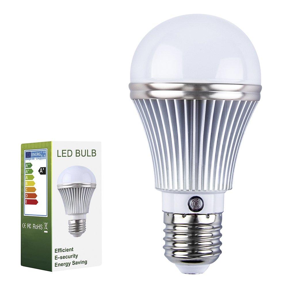 ELEOPTION E27 AC85-265V LED Light Lamp Bulb Outdoor Indoor LED Sensor Light Bulbs Built-in Photosensor Detection Auto Switch Light For Christmas Room Office (5W 450Lumens, Warm White 2900K-3200K)