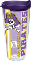 Tervis East Carolina Pirates College Pride Tumbler with Wrap and Royal Purple Lid 24oz, Clear
