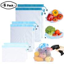 Reusable Mesh/Produce Bags (Lightweight, See-Through by PrettyCare) 6 Pack Double-Stitched Strength Grocery Bags with Tare Weight on Tags for Shopping & Storage of Fruit, Veggies