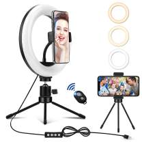 8'' LED Ring Light with Stand and Phone Holder, Mini Desktop Selfie Circle Lamp with Wireless Remote Control for YouTube Video/Photography/Makeup, 3 Light Modes and 10 Brightness Level