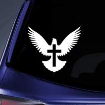 "Bargain Max Decals - Peace Dove Christian Jesus CrossSticker Decal Notebook Car Laptop 6"" (White)"