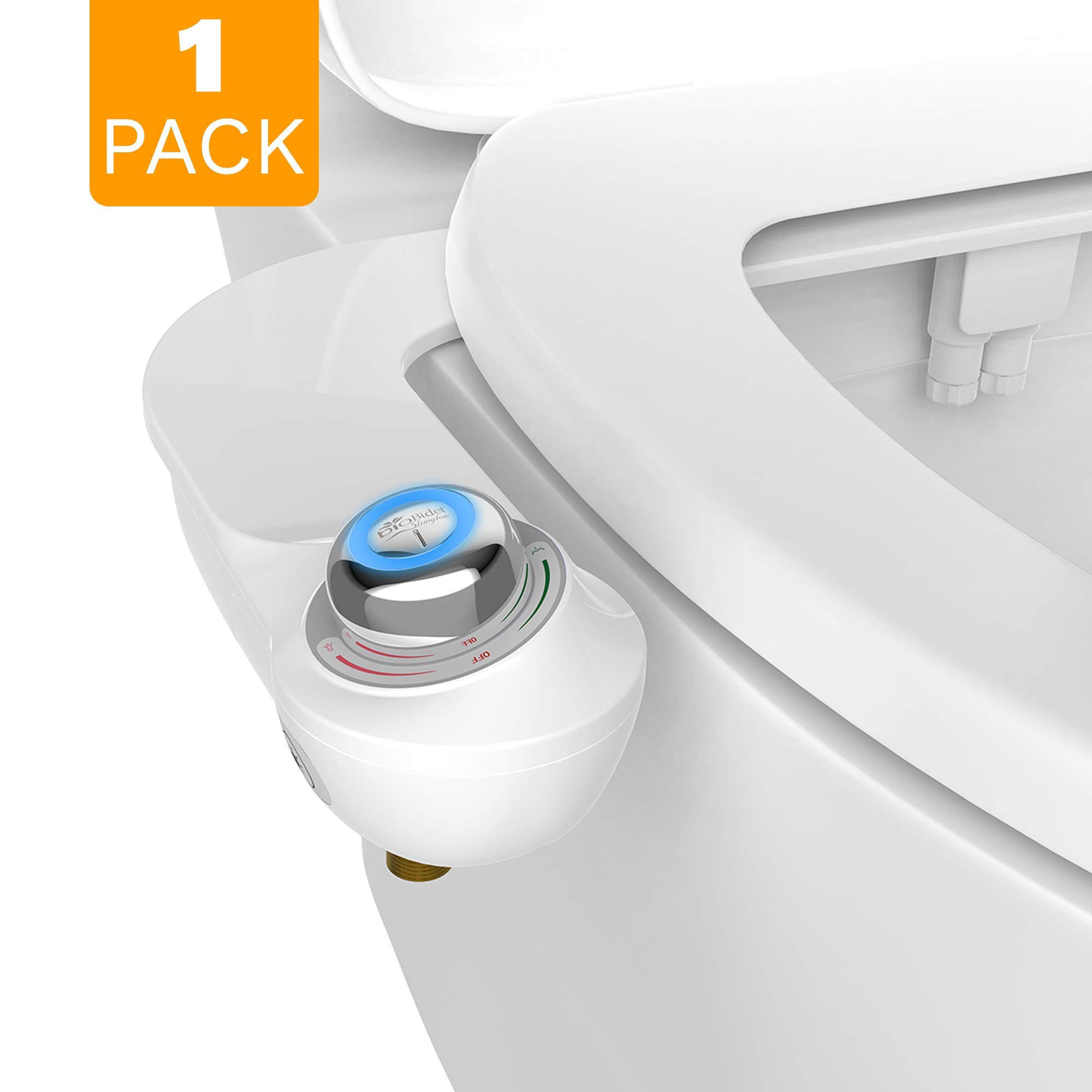 Bio Bidet SlimGlow Simple Bidet Toilet Attachment in White with Dual Nozzle, Fresh Water Spray, Non Electric, Easy to Install, Brass Inlet and Internal Valve