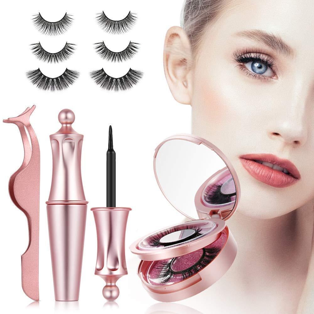Magnetic Eyelashes, 3D No Glue False Eyelashes, Magnetic eyelashes & Magnetic Eyeliner Set, Waterproof & Long Lasting Magnetic False Lashes, Reusable Natural Eyelash Kit, 3 Styles with Tweezers