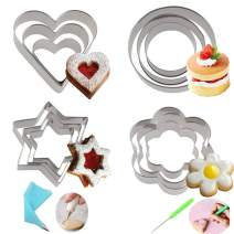 Cofe-BY Cookie Cutters set, Metal Stainless Star Heart Flower Round Shaped Fruit Pastry Biscuit Cutters Molds with Sugar Cookie Decorating kits (16pcs/set)