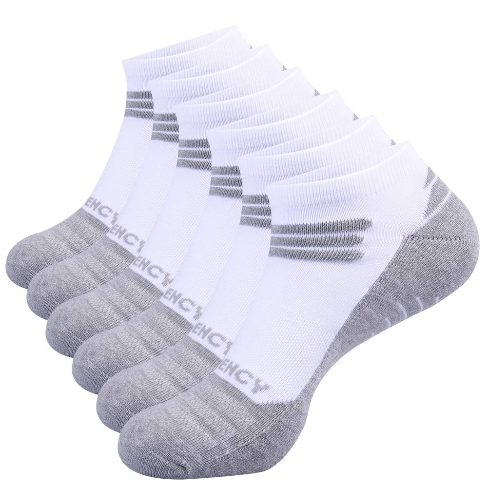FUNDENCY Mens Performance Ankle Athletic Running Socks Cushioned Low Cut Sport Socks 6 Pack