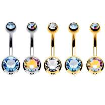BodyJ4You 5PC Belly Button Rings 14G Crystal Multicolor Stainless Steel Curved Navel Barbell Body Piercing