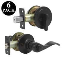 Probrico Front Door Entry Lever Lockset, Single Cylinder Deadbolt Combination Set, Flat Black Finish Keyed Alike Combo, Reversible for Right and Left Side 6Pack