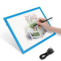 LED Light Pad A4 Ultra-Thin Portable Light Box Tracer for Diamond Painting Artcraft Drawing Sketching, USB Light Board Dimmable Brightness Bright Pad, Gift for Artist Engineer Doctor Animator-Blue