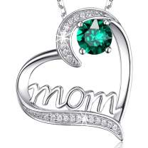 Re Besta Sterling Silver Mom Necklace Created Green Emerald Jewelry for Mother Birthday Gifts