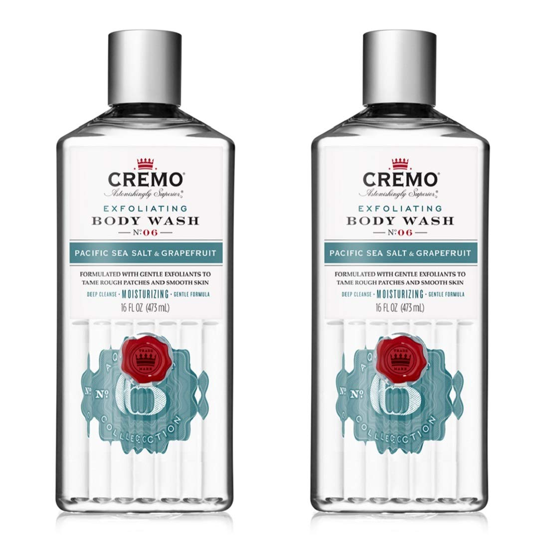Cremo Exfoliating Body Wash, Pacific Sea Salt & Grapefruit, Exotic Scent Inspired By The Trade Winds Of The South Pacific, 16 Fl Oz, Pack of 2