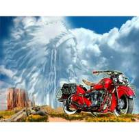 5D DIY Diamond Painting Full Drill Cross Stitch Kit Diamond Painting Number Kits Embroidery Art for Adults Red Motorcycle 15.7x11.8in 1 Pack by Toyvip