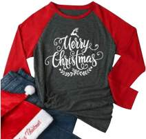 Merry Christmas Tree Holiday T Shirt Women Funny Christmas Reindeer Long Sleeve Tees Tops Baseball T-Shirt