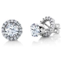 Gem Stone King 3.00 Ct Round 6mm White Zirconia 925 Sterling Silver Stud Earrings