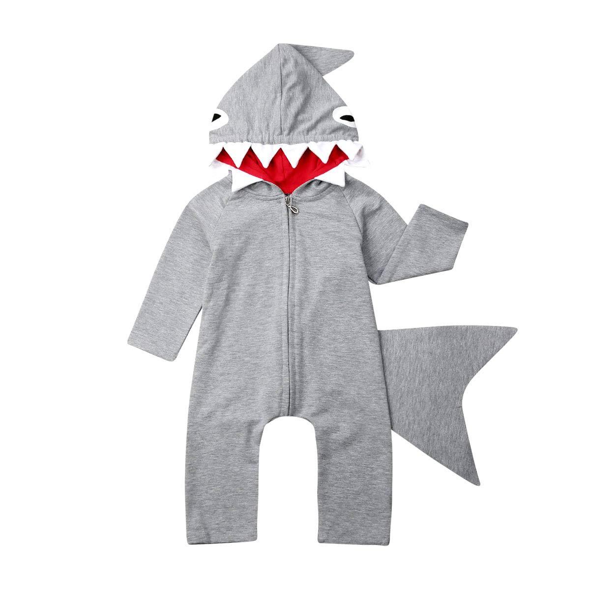 Newborn Infant Kids Boys Girls Cute Cartoon Shark Long Sleeve Zipper Hooded Romper Jumpsuit Top Outfits Clothes