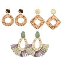 Heflashor 3 Pairs Rattan Earrings Bohemia Braid Rattan Dangle Earrings Hoop with Acetate Disc Square Drop Earrings for Women Girls Jewelry