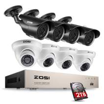 ZOSI 8CH Security Cameras System,8 Channel 1080P 4-in-1 CCTV DVR Recorder 2TB Hard Drive and (8) HD 2.0MP 1920TVL Weatherproof Bullet and Dome Surveillance Cameras with 120ft/65ft Night Vision