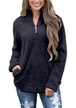 FOURSTEEDS Women's Casual Sherpa Fleece Pullover 1/4 Zipper Long Sleeve Collar Outwear Jacket Coat, Vintage White, XS