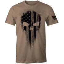 USA Military American Flag Black Skull Patriotic Men's T Shirt