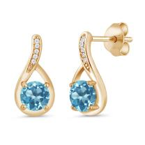 Gem Stone King 1.17 Ct Swiss Blue Topaz and Diamond 18K Yellow Gold Plated Silver Infinity Earrings
