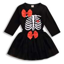 Toddler Baby Girls Outfits Bone Print T-Shirt Long Sleeve Top + Bow Knot Skirt 2PCS Clothes Set