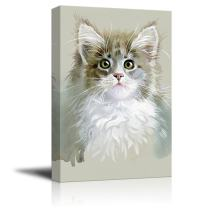 wall26 Canvas Wall Art - Watercolor Style Cute Cat - Giclee Print Gallery Wrap Modern Home Decor Ready to Hang - 32x48 inches
