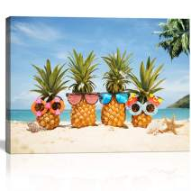 Beach Wall Art for Kitchen Living Room Bedroom Decor Blue Ocean with Tropical Plants Funny Pineapple with Sunglasses Modern Canvas Print Framed Gift for Teen Kids Room Decor