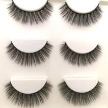 Sunniess Hair Imported Fiber 3D Mink False Eye lashes Handmade Reusable Long Cross Makeup Natural 3D Fake Thick Black EyeLashes 3 Pairs(3D-07)