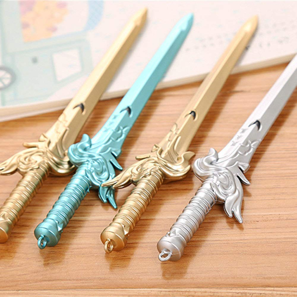 WIN-MARKET Colorful Swords Gel Ink Pen Cute Kawaii Black Writing Pens Ballpoint Black Ink Gel Pen Party Gift Gel Ink Pens Funny School Stationery Office Supplies(6PCS)