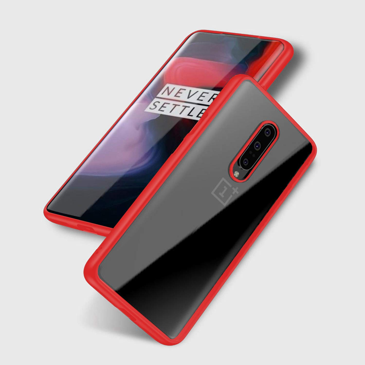 ZIZO Refine Series OnePlus 7 Pro Case Slim Clear with PC Metallic Bumper Red Clear