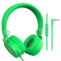 PuroBasic Volume Limiting Wired Headphones for Kids, Boys, Girls 2+ Foldable & Adjustable Headband w/Microphone, Compatible with iPad, iPhone, Android, PC & Mac – by Puro Sound Labs, Green