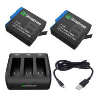 Smatree Rechargeable Battery with 3-Channel Charger Compatible for GoPro Hero 8/7/6 Black and Hero 5 Black Firmware V2.70 (Fully Compatible)