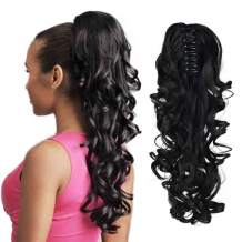 """SEIKEA Claw Clip in Ponytail Extension Long Curly Wavy Pony Tail Hair Extensions For Women 16"""" - Black"""