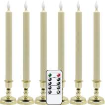 Eldnacele Flameless Battery Operated Flickering Taper Candles with Remote Timer, LED Window Candles with Suction Cups, Set of 6 Gold Holders for Party Home Christmas Decoration