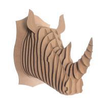 Cardboard Safari Recycled Cardboard Animal Taxidermy Rhino Trophy Head, Robbie Brown Medium