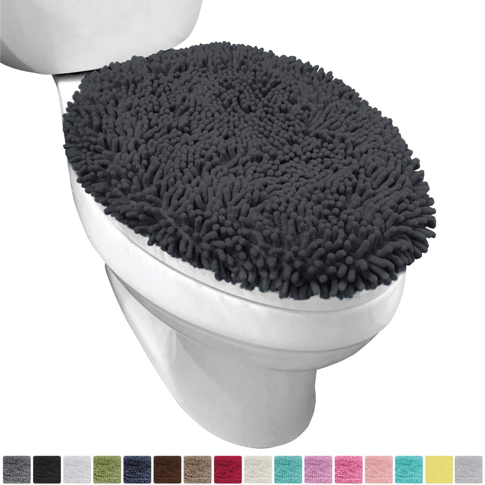 Gorilla Grip Original Shag Chenille Bathroom Toilet Lid Cover, 19.5 x 18.5 Inches Large Size, Machine Washable, Ultra Soft Plush Fabric Covers, Fits Most Size Toilet Lids for Bathroom, Charcoal