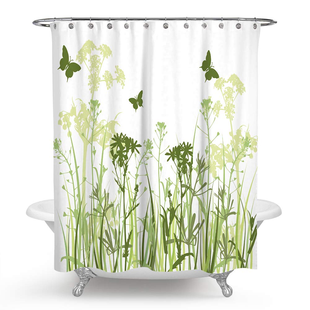 QCWN Butterfly Shower Curtain,Thistles Flower Leaf Seeds Bouquet Monarch Butterfly Wheat Field Wild Nature Shower Curtain for Bathroom Décor.White Green 59x70Inch