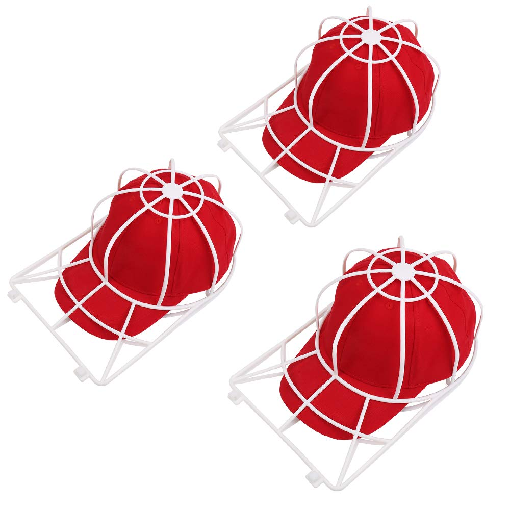 Hat Washer for Washing Machine,3 Pack Ball Cap Washer for Dishwasher,Curved Flat Bill Plastic Hat Frame Cage for Washing,Baseball Cap Cleaner Holder Wash Shaper Protector,Dishwasher Hat Cleaning Rack
