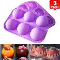 "PERNY 6 Cavities Round Silicone Molds, 2"" Diameter Half Sphere Hemisphere Dome Chocolate Teacake Silicone Mold Tray, 3 Pack"