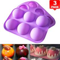 """PERNY Half Sphere Silicone Mold for 2"""" Chocolate Candy Mousse Dessert, 3 Pack"""