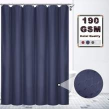 VCVCOO Waterproof Polyester Waffle Shower Curtain Without Liner Washable, Modern 190GSM Heavy Weight Fabric Shower Curtains for Home Hotel Bathroom(72x72 inch, Navy Blue)