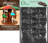 Cybrtrayd G-Clef Lolly Chocolate Candy Mold with Chocolatier's Guide Instructions Book Manual