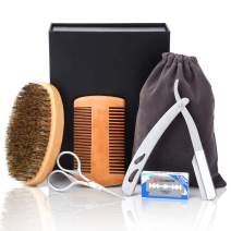 Beard Brush Kit Senignol Beard Brush and Comb Set for Men Including Round Boar Bristle Brush Pocket Beard Comb and Beard Trim Tool for Beard Grooming Care, with Travel Bag and Gift Box