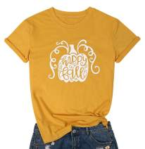 MYHALF Women's Graphic Cute Happy Ball Letter Printed T Shirt Pumpkin Halloween Funny Tops Teen Girl Tees