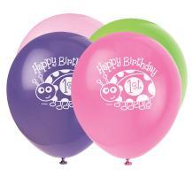 "12"" Latex Ladybug 1st Birthday Balloons, 8ct"
