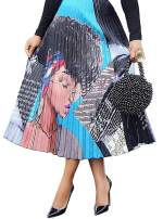 ThusFar Women's Graffiti Pleated African Midi Skirts - Cartoon Printed Elastic Waist A-Line Swing Skater Skirt Dress